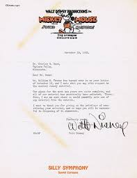 Cover Letter Animation by Walt Disney Letter Up For Auction Animation Magazine