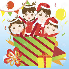 family in christmas costume giving surprise royalty free cliparts