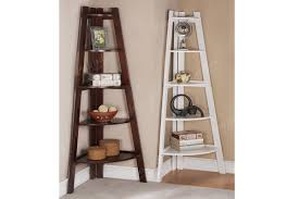 Laminate Flooring Corners Furniture White Wooden Corner Bookcase With Ladder Shaped Having