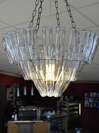 Glass Bottle Chandelier Thrifty Home Upcycled Glass Bottle Chandeliers Wonderthrift