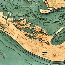 Sanibel Island Florida Map by Island Laser Cut Marine Chart 31w 25h By Thos Baker