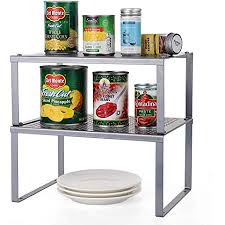kitchen cabinet storage accessories 2 pack kitchen racks and shelves cabinet counter shelf organizer storage rack expandable stackable spice racks fit for kitchen bathroom sink
