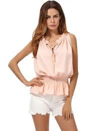 elastic waist blouse s fashion tie v neck sleeveless elastic waist ruffle hem