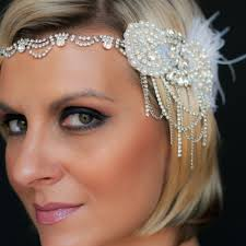 great gatsby headband great gatsby gretchen bridal chain feather headband