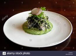 cuisine haute hotel restaurant food haute cuisine salad piled on cucumber
