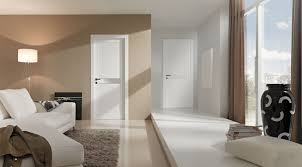 sumptuous white painted modern interior doors with chrome panels