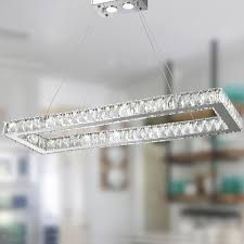 Galaxy Chandelier Galaxy 16 Light Led Chrome Finish And Clear Rectangle