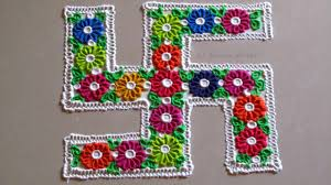 easy and simple multicoloured swastik rangoli craft community