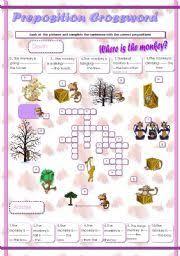 english exercises crossword preposition