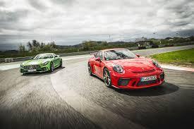 fastest porsche 2017 mercedes amg gt r vs porsche 911 gt3 twin test review 2017 by