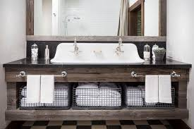 Wood Bathroom Cabinet by Reclaimed Wood Bath Vanity With His And Hers Towel Bars Country
