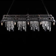 15 Light Chandelier Iron Bar With Crystal Droplet Vintage Linear Pendant Chandelier 15