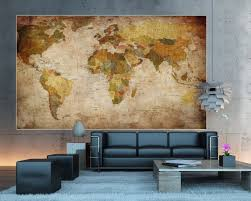 Map Home Decor World Map Photo Wallpaper Mural Vintage Retro Motif Xxl World Map