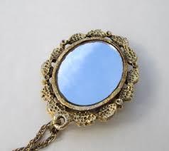 vintage necklace pendant images Unusual cameo pendant necklace with mirror goldtone frame vintage jpg