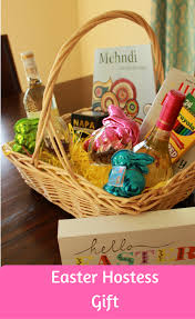 easter basket hostess gift wine in mom