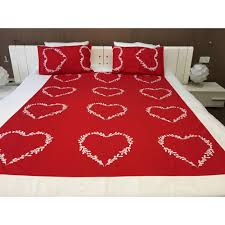 red and white heart shaped bedsheet with 2 pillow covers online