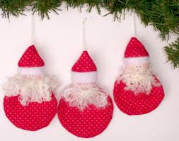 unique handmade christmas ornaments handmade christmas ornaments set of three each santa ornament has