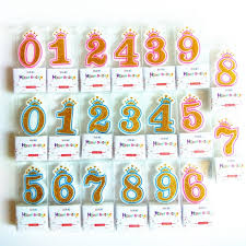 number birthday candles 10 pcs shinning pink blue crown birthday candles for kids