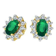 emerald earrings 14k yellow gold oval emerald and 25 total ct diamond earrings
