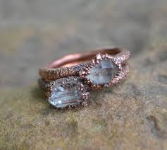 copper electroforming herkimer diamond ring copper electroformed ring ring
