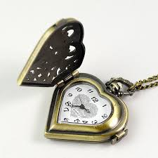 vintage necklace pocket watch images Vintage pocket clock bronze quartz watch heart shape clocks jpg