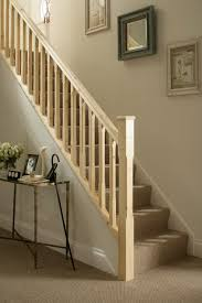 traditional stop chamfered style pine staircase railing