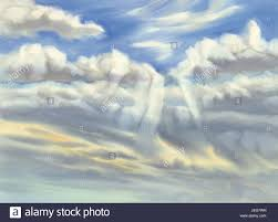 sky with clouds and sun rays watercolor background stock photo