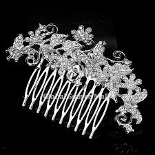 bridal hair combs womens wedding prom party rhinestone flower butterfly large alloy