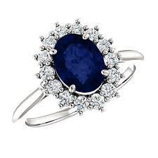 ring diana 8x6mm oval sapphire diamond halo engagement ring princess diana