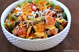 jam hands doritos taco salad with homemade french dressing