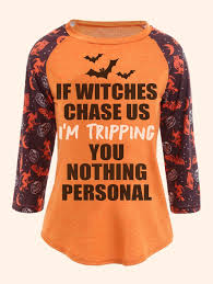 halloween printed plus size raglan sleeve t shirt orange xl in