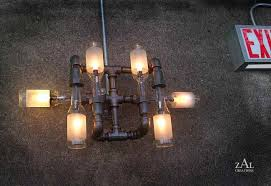 How To Make A Chandelier Out Of Beer Bottles Steampunk Style Lamps Made From Plumbing Pipes And Beer Bottles