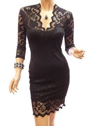 cocktail dresses patty women elegant black v neck floral lace