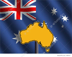 signs and info australia map sign with flag stock illustration