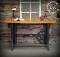 vintage industrial work bench table desk cast iron machine legs vintage industrial work bench table desk cast iron machine legs maple butcher block top breakfast bar