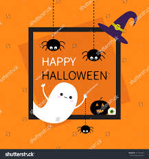 happy halloween square frame flying ghost stock illustration