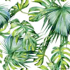 tropical wrapping paper seamless watercolor illustration of tropical leaves dense jungle