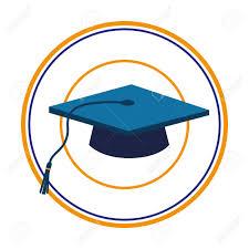 graduation cap frame color silhouette with blue graduation cap in circular frame