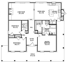 One Story House Plans With 4 Bedrooms 654151 One Story 3 Bedroom 2 Bath Southern Country Farmhouse