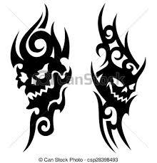 skull tribal tattoo a pair of skull tribal tattoo u0027s on a eps