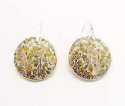 cercei de aur cercei din portelan frunze de aur bijuterii brandusa ungurasu