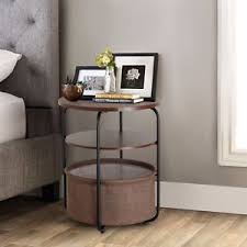 Storage End Table Lifewit 3 Tier Round Side End Table With Storage Canvas Basket