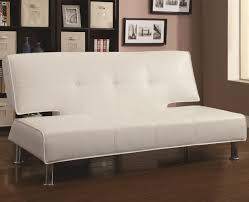 Armless Sofa Bed White Vinyl Upholstered Adjustable Armless Sofa Bed By Coaster