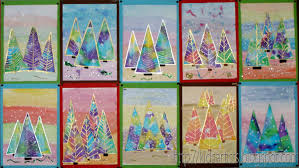 kids artists christmas water color cut into trees and snow