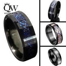 men wedding rings queenwish 8mm black blue tungsten carbide rings sliver black 18k