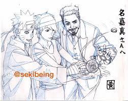 naruto animator pens sketch of the hero working with iron man