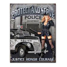 police protect and serve pin up sign vintage pinup decor