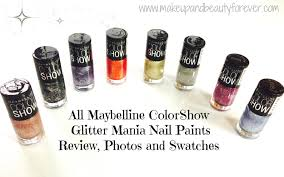 Black Paint Swatch All Maybelline Colorshow Glitter Mania Nail Paints Review Photos