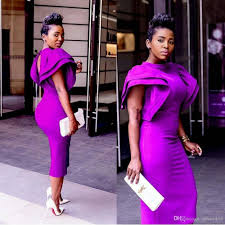 purple cocktail aso ebi style african high neck purple prom cocktail dress 2017