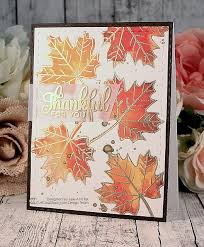 handmade thanksgiving cad from snappy scraps maple leaves in